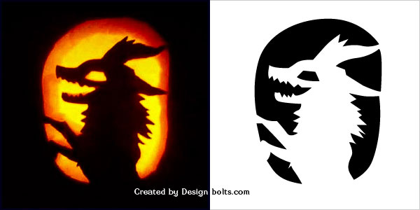 Scary Pumpkin Fox Stencil for Kids 2016