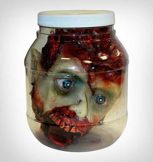 scary head in a jar indoor halloween decor - Halloween Decor 2016