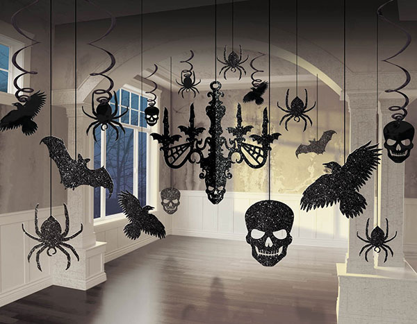 4 spooky glitter paper chandelier ravens skulls spiders bats best halloween store decoration ideas - Halloween Decor 2016