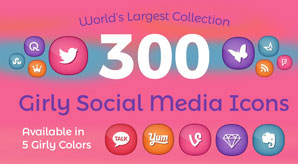 Free-Premium 300 Cute Girly Social Media Icons in Ai, PNG format