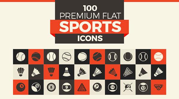 100-premium-flat-sports-icons