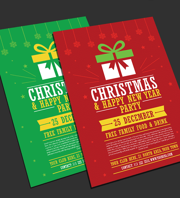 free christmas happy new year party flyer templates