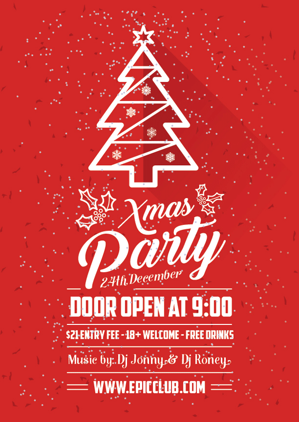 Christmas Party Flyer.Free A4 Christmas Party Flyer Design Template Mock Up Psd