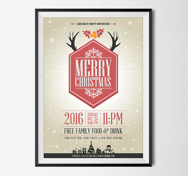 free black christmas pary flyer template design