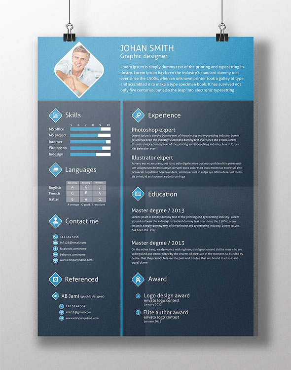 free 3 color flat resume template cover letter - Resume Templates For Designers