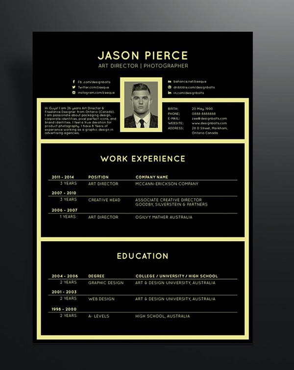 10 fresh free  u0026 premium resume  cv  template design