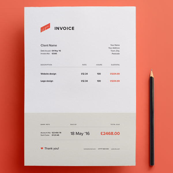 Top Best Free Professional Invoice Template Designs In Ai PSD - Design invoice template