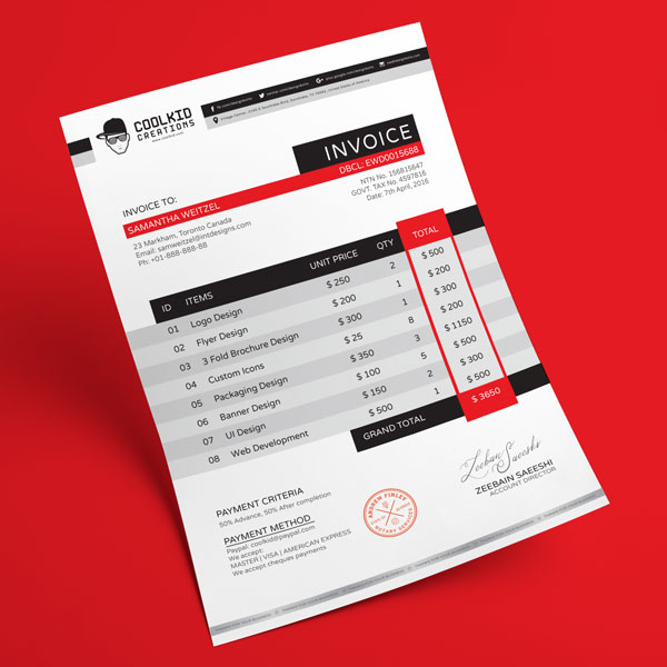 Top  Best Free Professional Invoice Template Designs In Ai  Psd