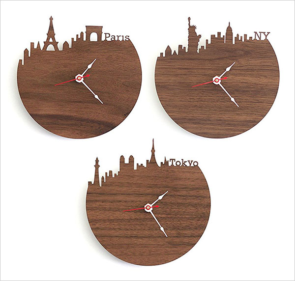 Boston-Skyline-Wooden-Clock