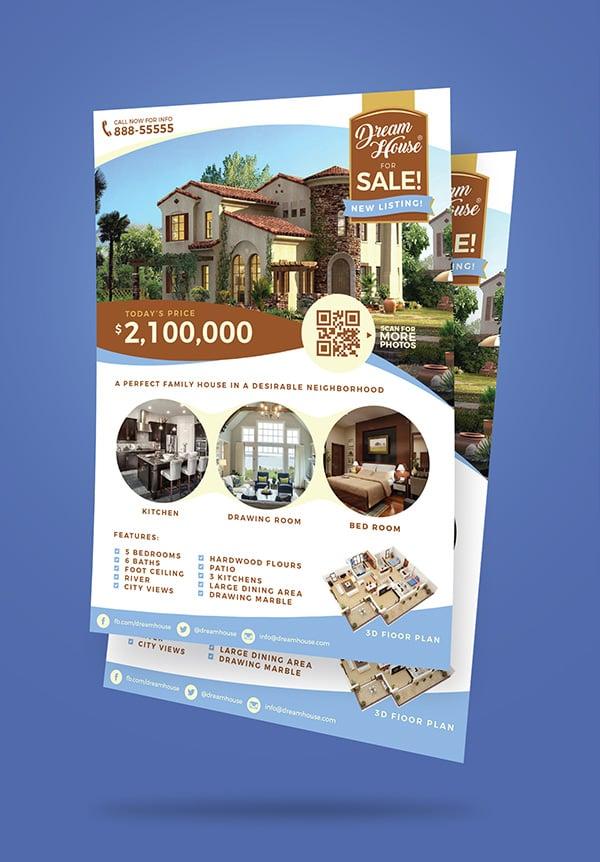 free real estate  house for sale  flyer design template  ai   u0026 mock
