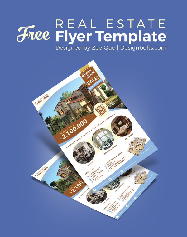 free real estate house for sale flyer design template ai mock