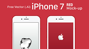 Free-Vector-Apple-iPhone-7-RED-Mock-up-In-Ai-&-EPS-Format