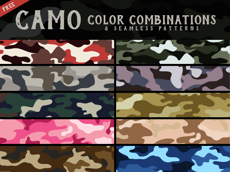 10-Free-Best-Trendy-Camo-Clothing-Army-Seamless-Patterns-&-4-Color-Combinations