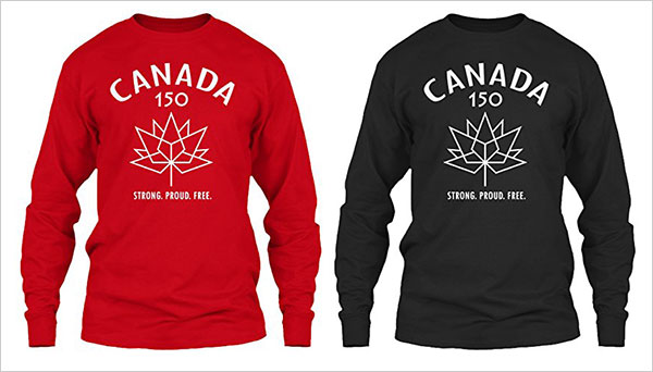 CANADA-150-Long-Sleeved-red-Black-T-Shirt