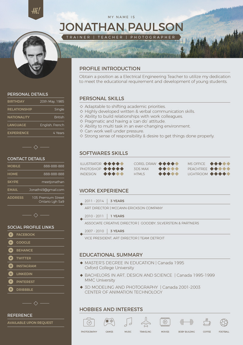 Free professional modern resume cv portfolio page for Modern resume template free download