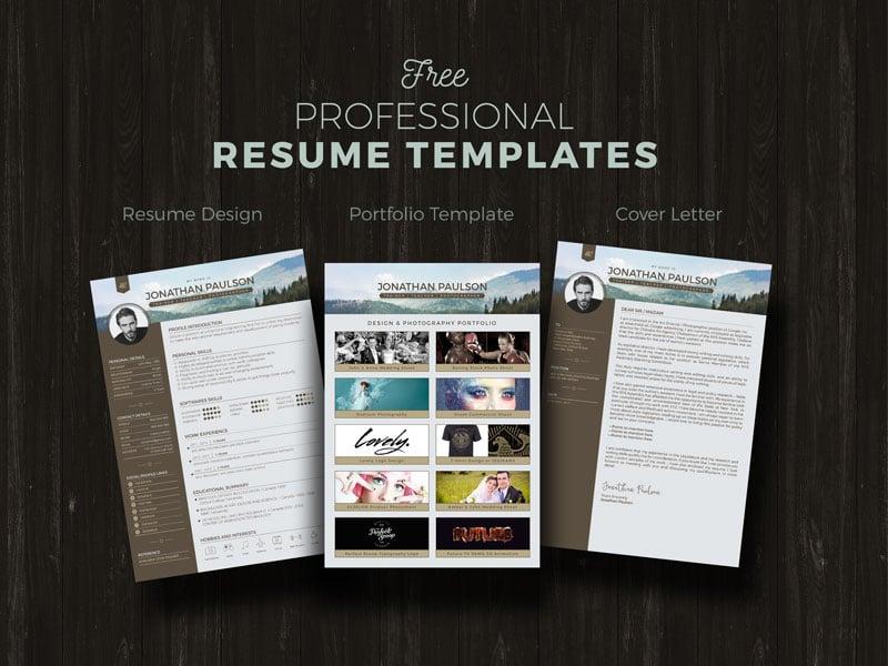 Free Professional Modern Resume CV Portfolio Page Cover Letter Design Template