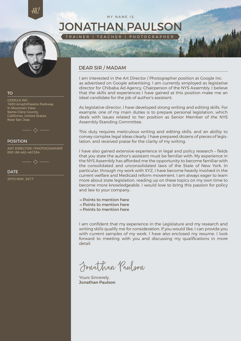 Free Professional Modern Resume Cover Letter Design Template