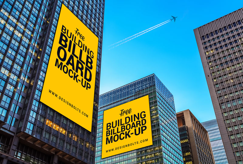 free outdoor building advertising billboard mockup psd file