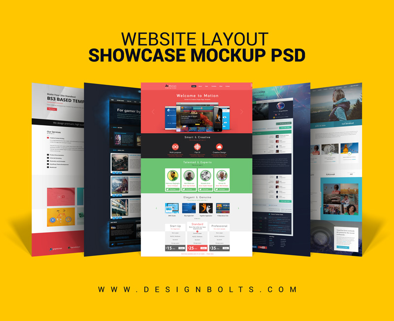 Free Website Layout Design Showcase Mock Up Psd For Web
