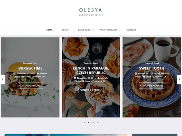 Olesya-clean-blog-creative-and-productive-blogger-wordperss-theme-2017