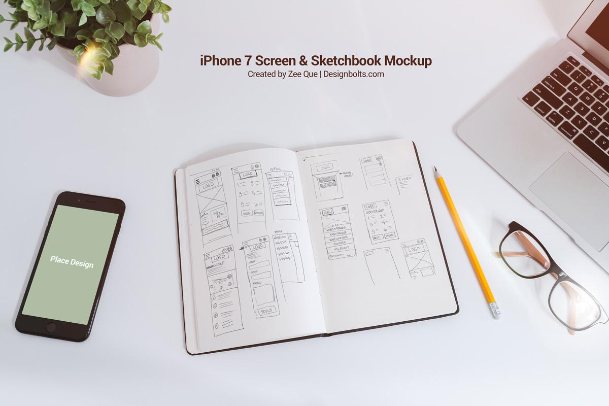 Free-Sketchbook-&-iPhone-7-Mockup-PSD