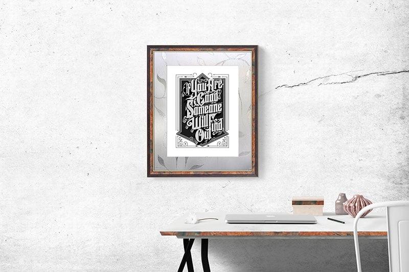 Free Wall Photo Frame Mockup Psd