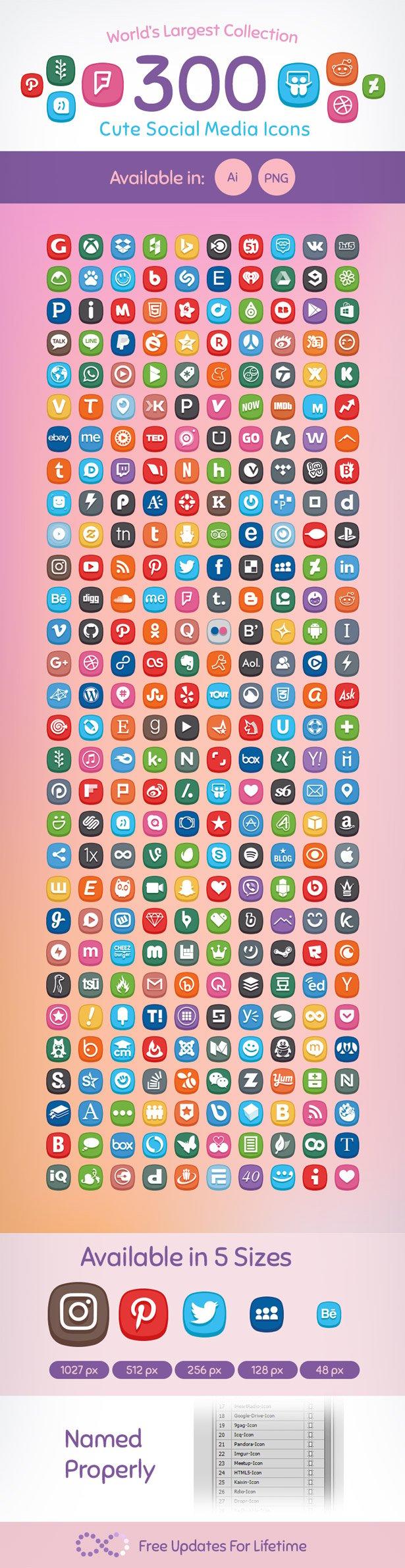 Premium-300-Cute-Social-Media-Icons-set