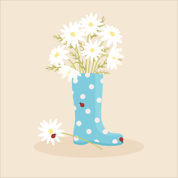 Adorable-Rain-Boot-With-Daisies-in-Adobe-Illustrator