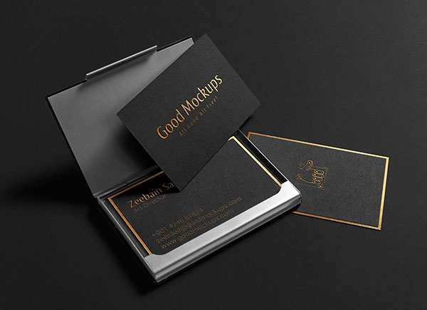Free-Black-With-Gold-Foil-Lettering-Business-Card-Mockup-PSD