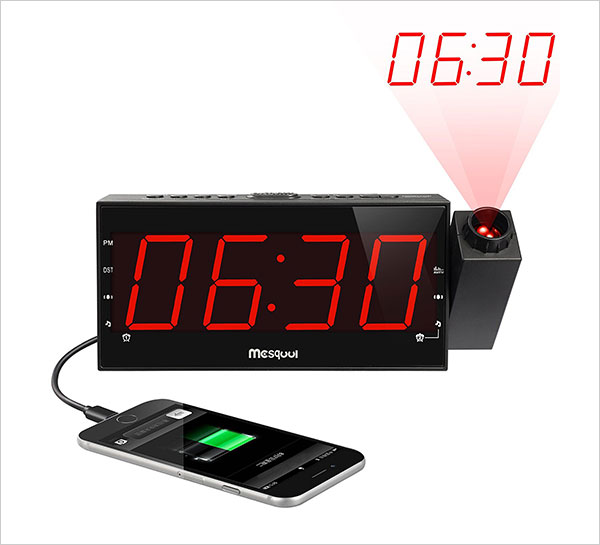 Mesqool-AM-FM-Digital-Dimmable-Projection-Alarm-Clock-Radio-with-LED-Display,-USB-Charging,-Battery-Backup