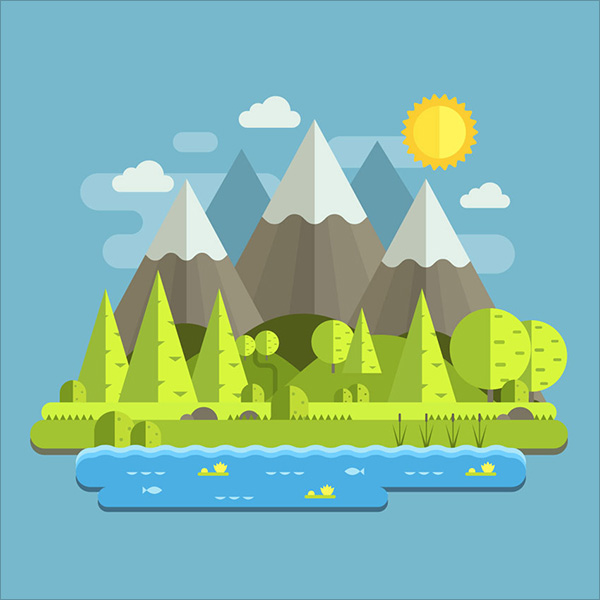 Mountain-Landscape-in-Flat-Style-in-Adobe-Illustrator