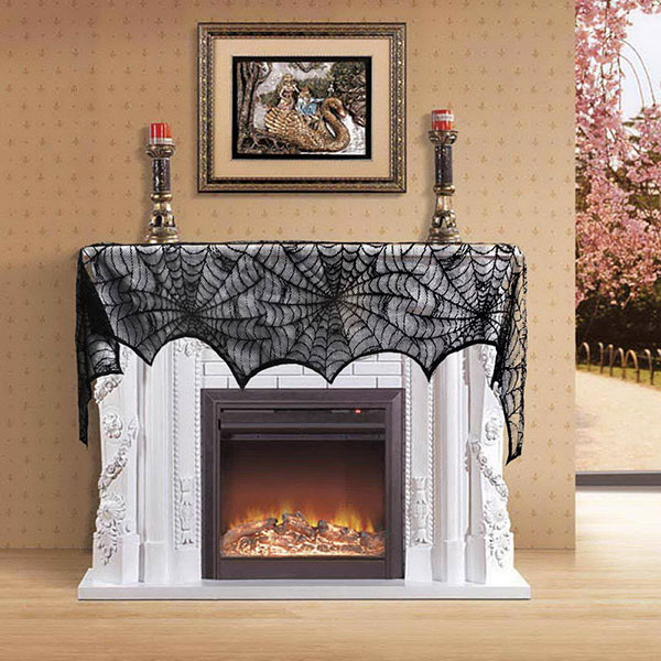 Halloween-Decoration-Black-Lace-Spiderweb-Fireplace-Mantle-Scarf