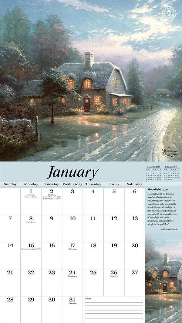 Thomas-Kinkade-Special-Collector's-Edition-2018-Deluxe-Wall-Calendar-Peaceful-Retreat-2