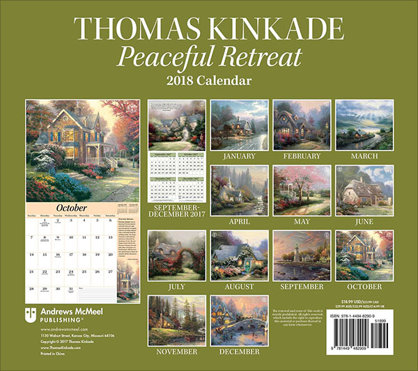 Thomas-Kinkade-Special-Collector's-Edition-2018-Deluxe-Wall-Calendar-Peaceful-Retreat-5