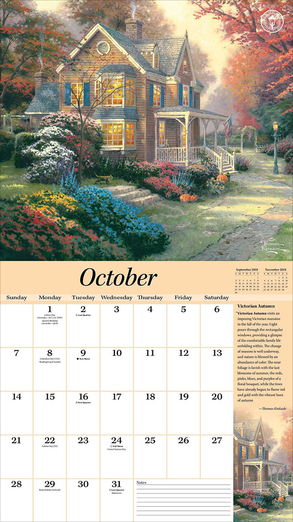Thomas-Kinkade-Special-Collector's-Edition-2018-Deluxe-Wall-Calendar-Peaceful-Retreat
