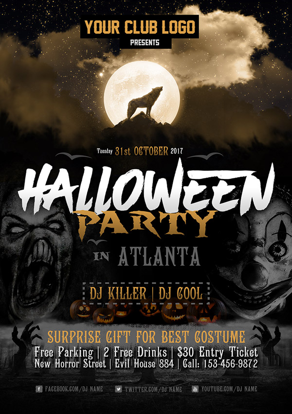Free Halloween Party Costume Flyer Design Template 2017