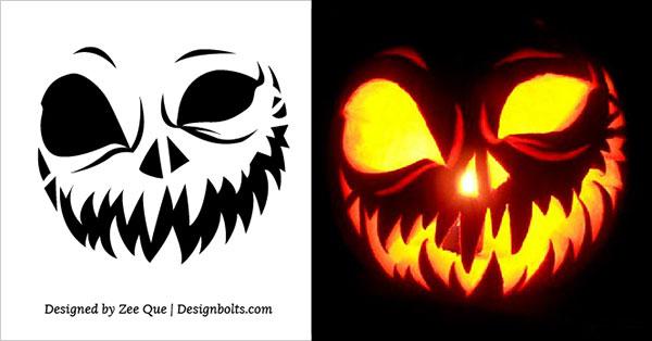 5 Free Scary Halloween Jack O Lantern Pumpkin Carving Stencils