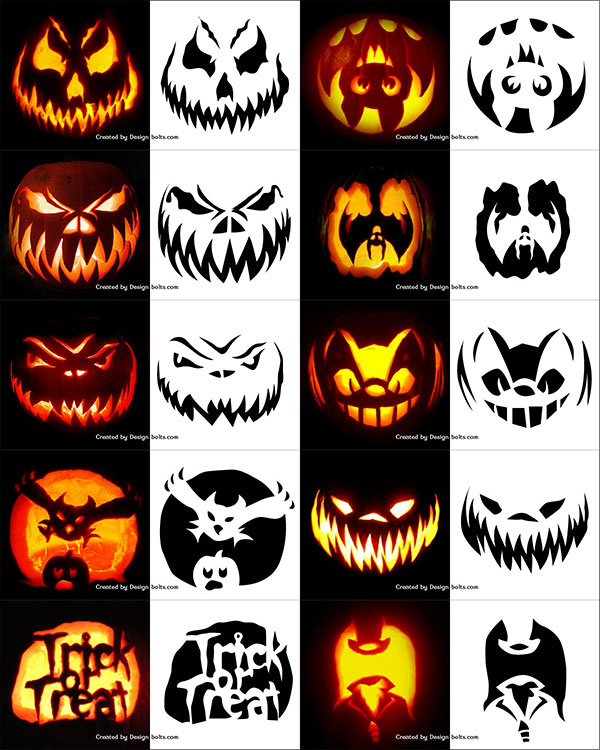 10 free halloween scary pumpkin carving stencils patterns templates ideas