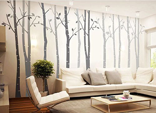 4 Birch Tree Wall Decal Nursery Removable