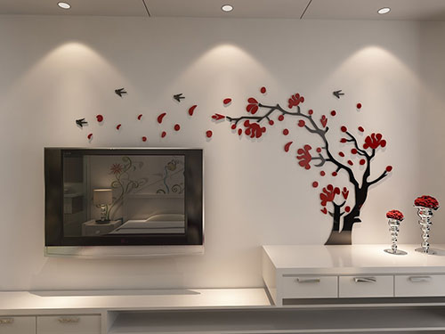 DecorSmart-Plastic-Trees-and-Birds-3D-Wall-Decals,-3110-(Red-Black)