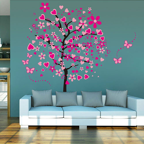 ElecMotive-Huge-Size-Cartoon-Heart-Tree-Butterfly-Wall-Decals-Removable-Wall-Decor-Decorative-Painting-Supplies-&-Wall-Treatments-Stickers-for-Girls-Kids-Living-Room-Bedroom