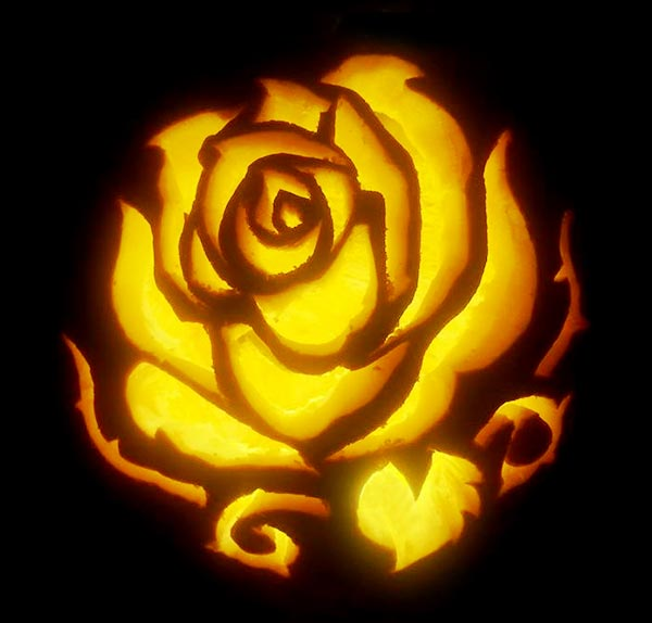 Enchanted-Rose-Pumpkin-carving-Design