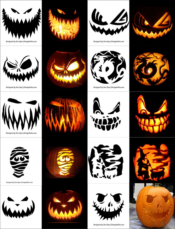 Free printable halloween pumpkin carving stencils