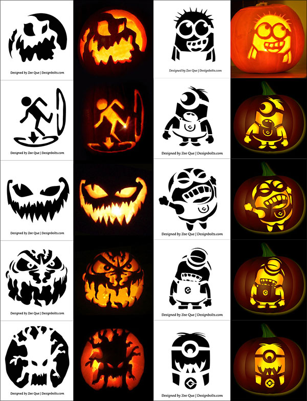 Free-printable-Scary-Halloween-Pumpkin-Carving-Stencils-with-Minion-Stencils