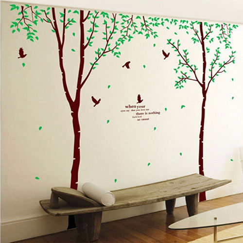 Giant-Huge-Large-Brown-Birch-Tree-&-Green-Leaves-Branches-Black-Birds-Wall-Decals-Removable