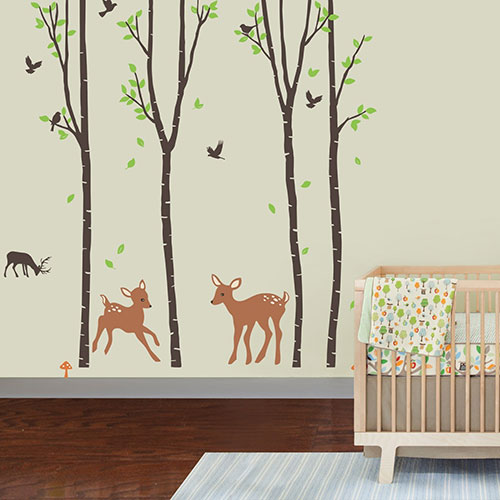 Giant-Wall-Sticker-Decals---Birch-Tree-Forest-with-Deers-and-Flying-Birds-Baby-(trees-are-6-feet-tall)