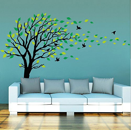 Large-Dark-and-Green-Tree-Blowing-in-the-Wind-Tree-Wall-Decals-Wall-Sticker