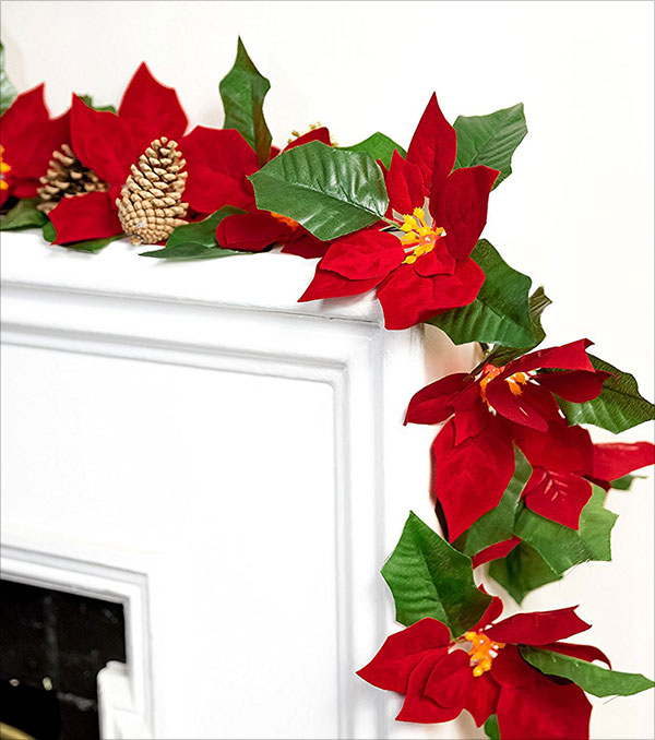 Cordless-Lighted-Poinsettia-Flower-Garland-with-LED-Lights