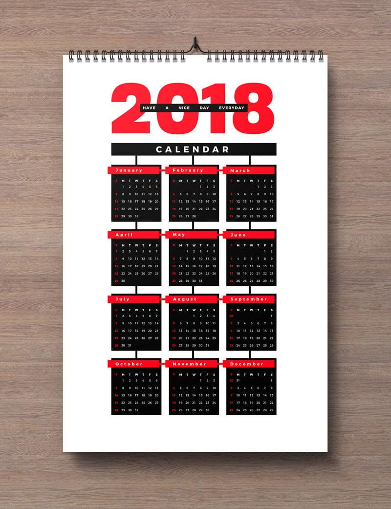 Free Calendar 2018 Design Template Ai EPS PDF CDR (1)
