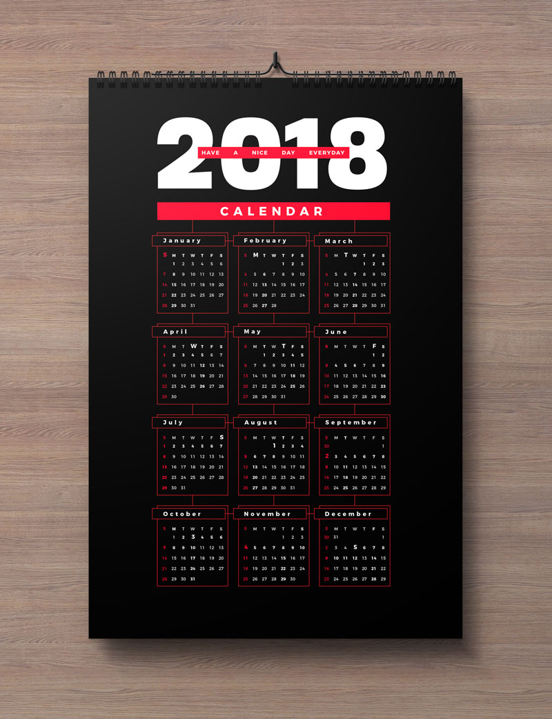 Free Calendar 2018 Design Template Ai EPS PDF CDR (2)